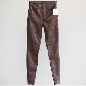 FREE PEOPLE faux brown leather high waist leggings